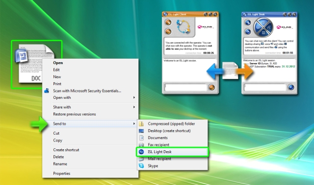 Transfering files between a remote and local computer is easy with the SendTo shortcut in the Windows Explorer menu (right-mouse click on the file)