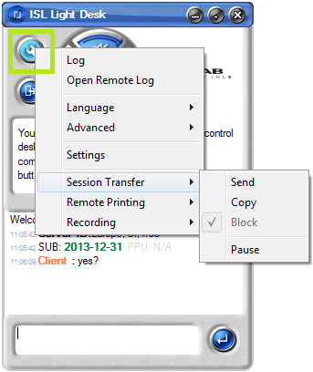 Transfer active sessions in ISL Light - ISL Light Desk -> right mouse click on Tools -> Session Transfer