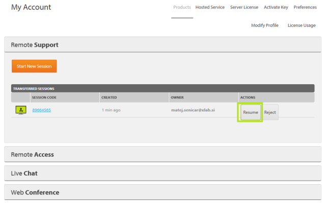 Transfer active sessions in ISL Light - see and resume transfered session in the Web account