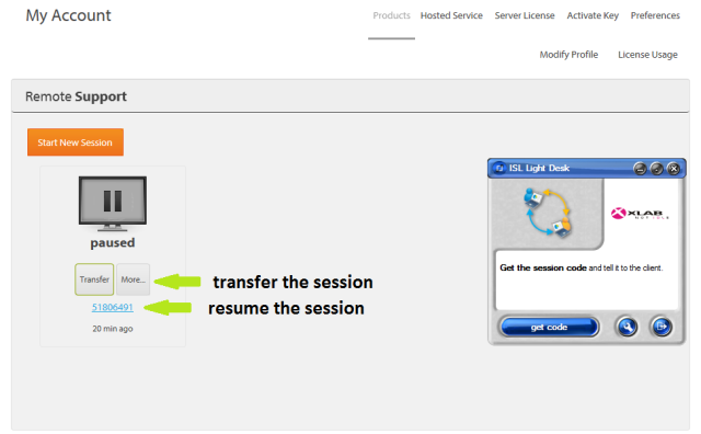 Transfer active sessions in ISL Light - resume or transfer the paused session in the Web account