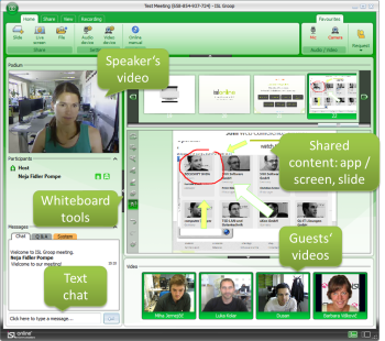 ISL Groop Web Conferencing from a desktop computer (Win, Mac).