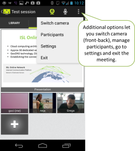 Open additional options to switch the camera from front to back, mute participants, open settings or exit the meeting.