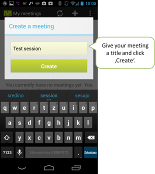 Give your online meeting a title and click 'Create'.