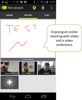 Follow the meeting presentation and communicate via video conference.