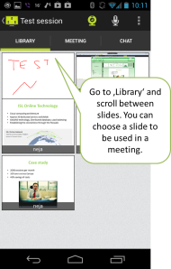 Scroll through meeting slides and force a slide to be used in the meeting.