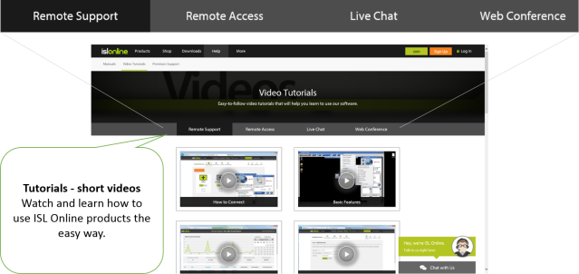 Video tutorials for remote desktop control products.