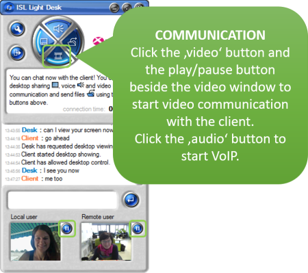 Improve your remote desktop support service with VoIP and video communication with the client.