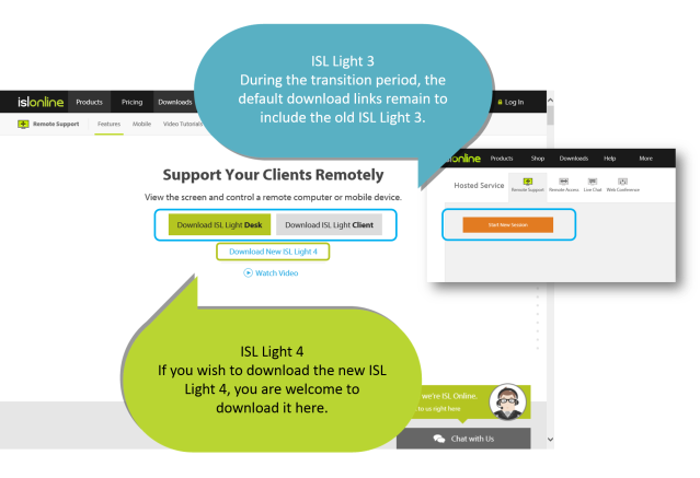 During this period, the default download links will remain the same, running ISL Light 3 instead of the latest version 4. Nevertheless, a download ISL Light 4 link has been added right next to the default download links and you are welcome to start using it.