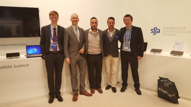 The ISL Online team at CeBIT 2015.  From left to right: Joe Webster, ISL Online UK, Mitja Vavpotic, XLAB, Alessandro Rizzo and Tobias Stucki, ISL Online Switzerland, Jure Pompe, XLAB.