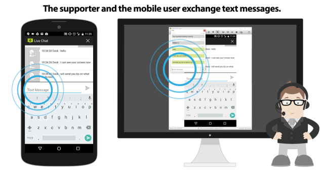 When connected, the supporter and the mobile user can switch over to text chatting.