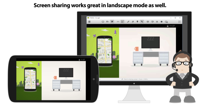 Screen sharing in portait and ladscape mode