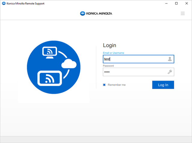 The customised remote desktop support app delivers a unified user experience through Konica Minolta visuals like logo, brand image, application name and button colour, while it also eliminates the »Sign up« and »Forgot password« links.