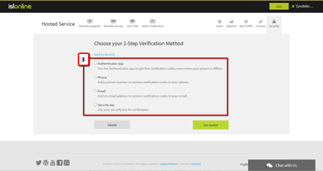 Choose step-two verification method for your ISL Online account