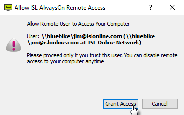 Grant access to a remote operator