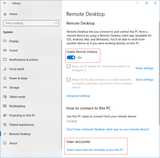 Enable remote desktop on a remote PC