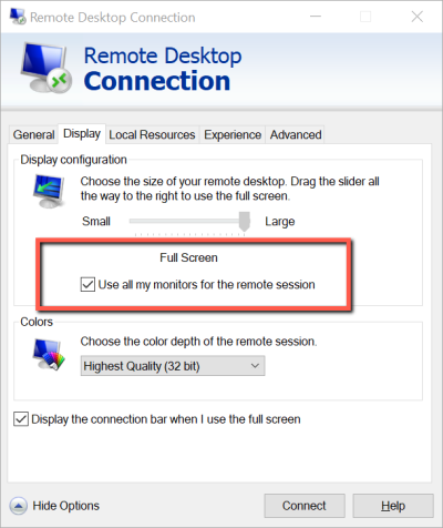 Remote Desktop Connection - set multiple monitor view
