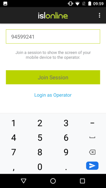 Type a remote session code into your mobile device